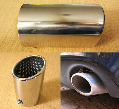 Stainless Steel Chrome Exhaust Tip 74mm Tail Pipe Sports Oval Trim A4 Style