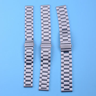 1pc Stainless Steel Watch Band Strap Double Clasp Solid Link Bracelet 18/20/22mm