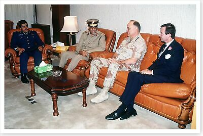 General Norman Schwarzkopf With Qatar Officers Operation Desert Storm 8x12 Photo