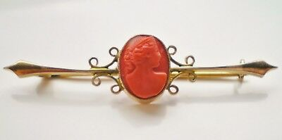 Antique Victorian 9ct Gold Coral Cameo set Bar Brooch c1890
