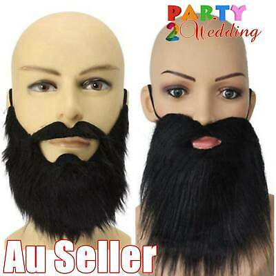 Black Fake Beard Costume Party Mustache Moustache Halloween Pirate Cosplay AU