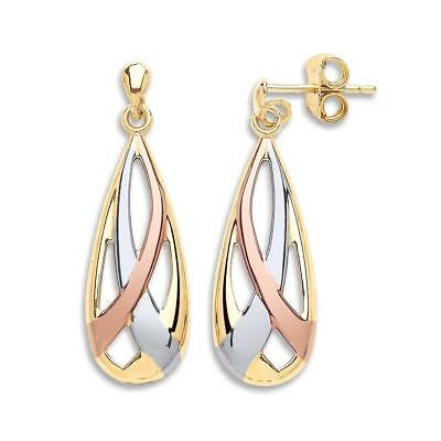Solid 9ct Yellow White /& Red Gold Lever back Drop Ladies Earring 2g Gift Boxed