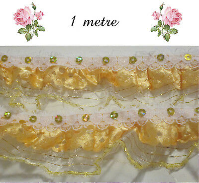 1m  RIBBON / LACE 3 layer White Antique Gold Yellow Sequins Crafts Cards Sewing
