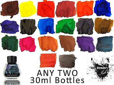 Any Two 30ml bottles of Van Dieman's Fountain Pen Ink - 14 colours to choose