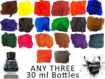 Any Three 30ml bottles of Van Dieman's Fountain Pen Ink - 14 colours to choose