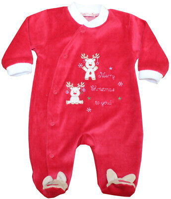 Baby Boy / Baby Girl Red Christmas All In One / Babygrow / Sleepsuit / Outfit