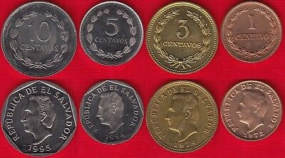 El Salvador set of 4 coins: 1 - 10 centavos 1972-1995 UNC