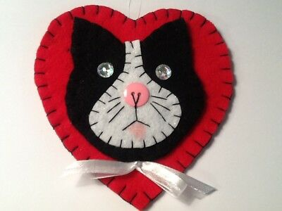 Heart cat ornaments for Christmas tree decorating, gift tag, wreath, item J14