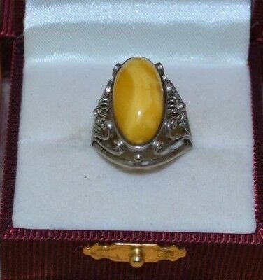 Vintage old Antique Baltic Amber Ring yellow  German silver (nickel) 4 gr