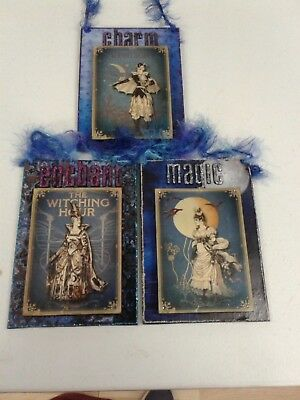 NEW Handmade wall hanging Halloween Witches Moon OOAK Altered art lot of 3