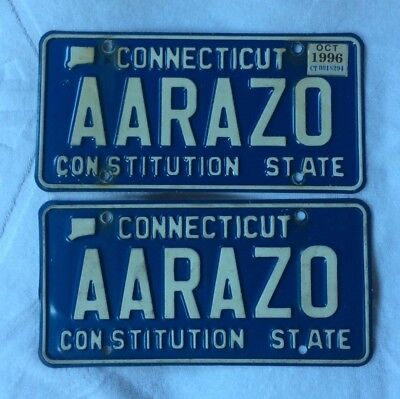 Vintage Connecticut Vanity License Plate AARAZO Blue & White CT match pair