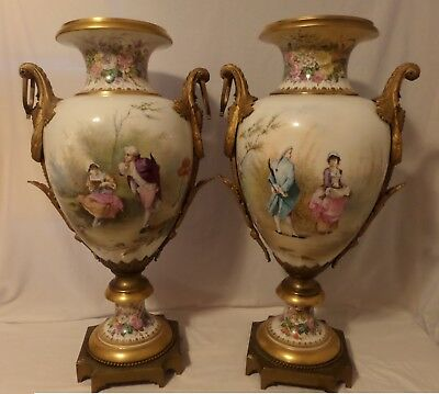 "Pair of 19th Century French Gold Gilt Porcelain and Bronze Urns Vases 30"" Tall"