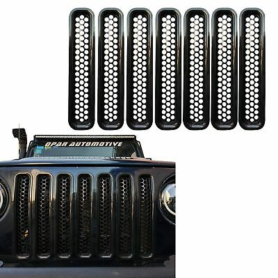 Glossy Black Honeycomb Front Mesh Grille For 1997-2006 Jeep Wrangler TJ -7Pcs