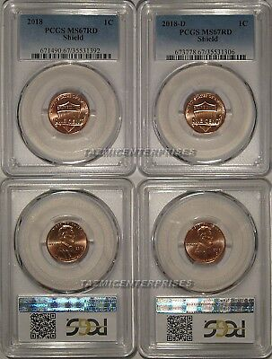 2018 P & D Lincoln SHIELD Cent 2 Coin Set 1c PCGS MS67RD SPOTLESS