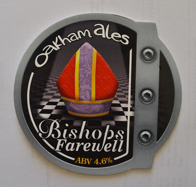 Bishops Farewell Oakham Real Ale Pub hand pull pump beer clip front badge sign