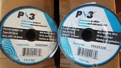 "New 2 Spools of MUG Welding Wire P3 64004178 MIG Welding Wire ER70S-6 .035"" 4lbs"