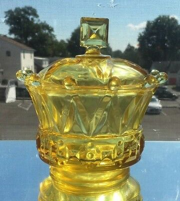 "Scarce Vintage Canary Yellow Fostoria ""windsor"" Crown Candy Dish W/lid #2749"