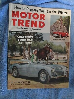 Vtg 11-1953 Motor Trend Austin Healey 100 Driving in Mexico nr