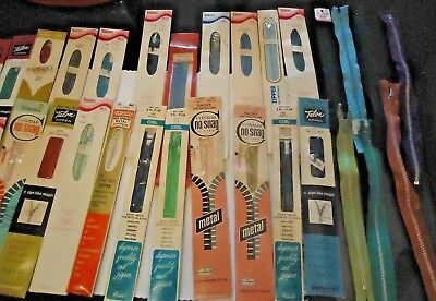 Lot of 32 New Vintage Zippers - Multiple Colors,Sizes, Brands