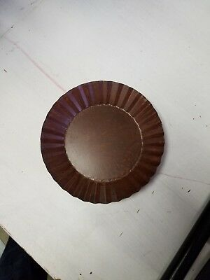 """Rusty Candle Pan Tray Fluted 3 3//8/"""" Wide Primitive Rustic for Pillar Jar Candle"""
