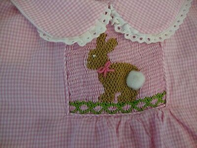 aa81ee12c PINK & WHITE gingham check Easter bunny Smocked Dress by C & L Cecil & Lou  - $19.99 | PicClick