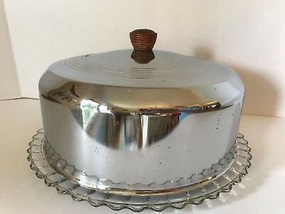 Vintage Glass Cake Plate Chrome Metal Dome Cover Carrier Mid Century Modern