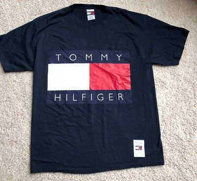 42fb7e738 Tommy Hilfiger Mens Spell Out Big Flag Box Logo T-Shirt Blue Size XL Vintage