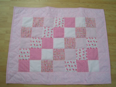 """Handmade baby girl quilt in assorted pink fabric 38 1/2"""" x 30""""  NEW #718"""