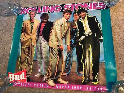 Rolling Stones Bud Budweiser Beer Poster ~ Steel Wheels World Tour 80s 90s