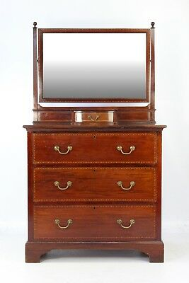 Antique Edwardian Mahogany Dressing Table - Small Mirror Back Chest of Drawers