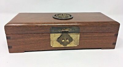 Oriental Asian Wood & Brass Jewelry Box Red Satin Lined & Box Jointed