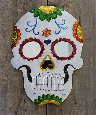 2 day of the dead sugar skull large tin mirror hand made mexican