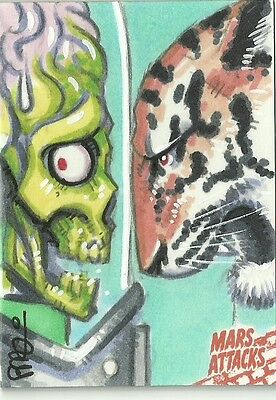 2016 Topps Mars Attacks Occupation Martian vs Tiger Sketch Card by Scott Blair