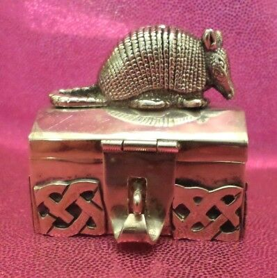 Sterling Silver Pill Box Armadillo~Figurine~Miniatures~Extremely Rare~