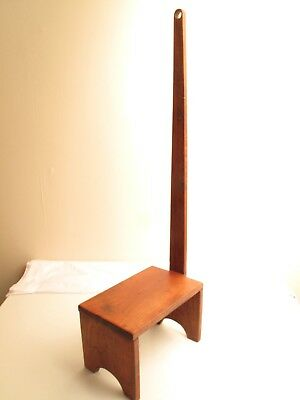 Antique 19Th C Shaker Step Up Stool Long Handle Repro Well Made In Cherry Pegged