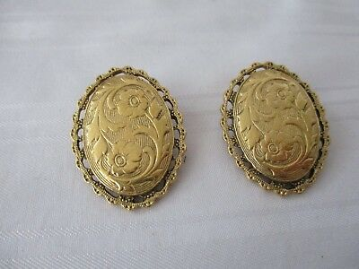 1928 vintage style gold plated oval clip on earrings engraved flowers