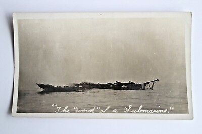 """WWII Vintage  Postcard RPPC The """"Wreck"""" of a Submarine Military Old #2725"""