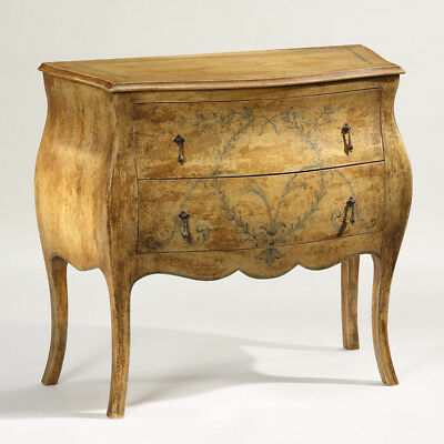 Stunning Louis XV Style Trissino Italian Hand Painted Bombe Commode Chest,35''W