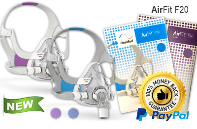 ResMed AirFit F20 Full Face CPAP Mask & Headgear KIT, All sizes (New)
