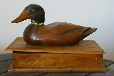 Vintage Hand Carved Solid Wood Mallard Duck Decoy Box - Antique