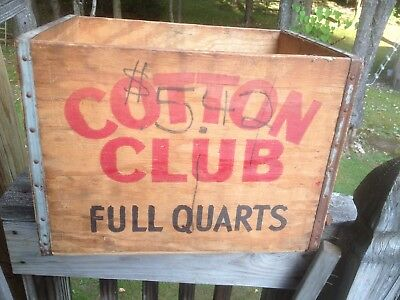 """Antique """"Cotton Club"""" Whiskey Wooden Advertising Box 12x17x12 early 1900's"""