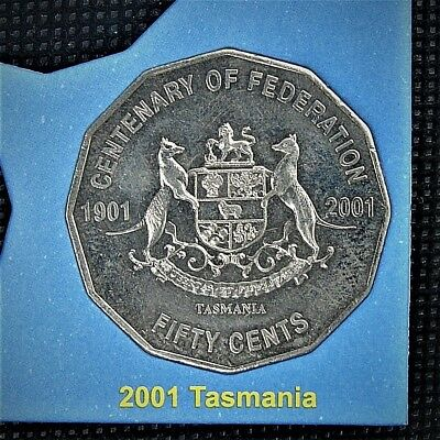***2001 TASMANIA 50 cent UNCIRCIRCULATED. Centenary of Federation coin from set!