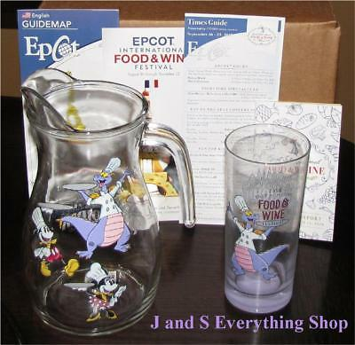 2018 Epcot Food and Wine Festival Passholder Figment Pitcher, Glass +more Disney