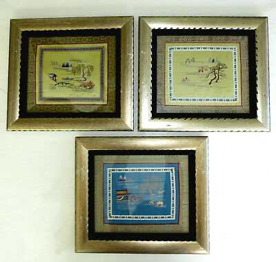 "Vintage Asian Oriental Embroidered Silk Wall Frames (3) Textile Art 12"" X 14"""