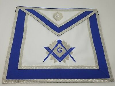 Master Mason Lambskin and Satin Back Dress Embroidery Apron with Sliver Trim