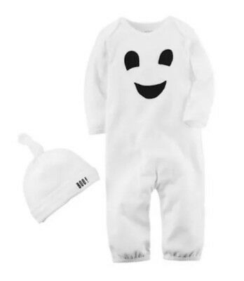 Carter's Halloween Ghost Pajamas Baby Boys Girls 3 Month Romper Bodysuit Hat