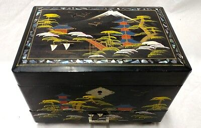 """Vintage Black Lacquer Music Jewelry Box Handpainted In Japan - 8""""W x 6""""T x 5.5""""D"""