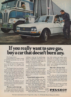 1976 Peugeot: Save Gas Buy a Car That Doesn't Burn Any Vintage Print Ad