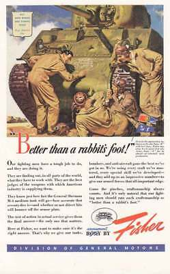 1943 Body by Fisher: Better Than a Rabbits Foot Vintage Print Ad