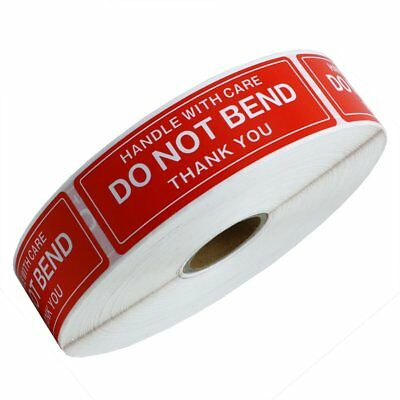 "5 Roll 1"" x 3"" DO NOT BEND HANDLE WITH CARE / Easy Peel ( 5000 Stickers)"